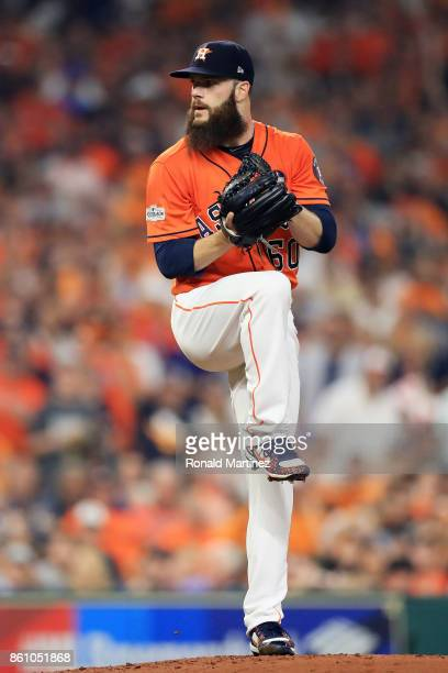 Dallas Keuchel of the Houston Astros pitches in the second inning against the New York Yankees during game one of the American League Championship...