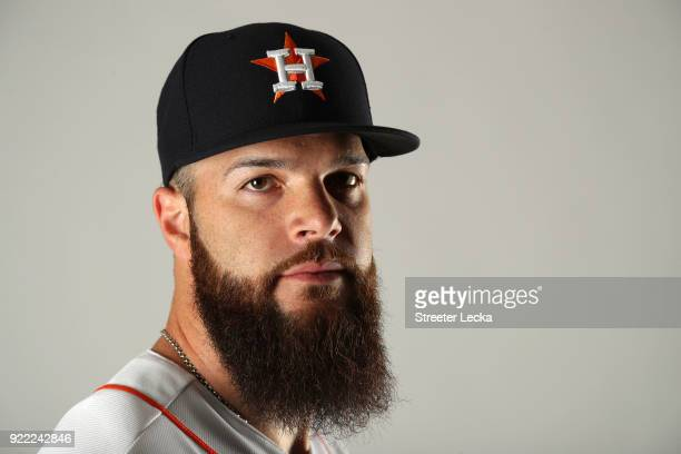 Dallas Keuchel of the Houston Astros poses for a portrait at The Ballpark of the Palm Beaches on February 21 2018 in West Palm Beach Florida