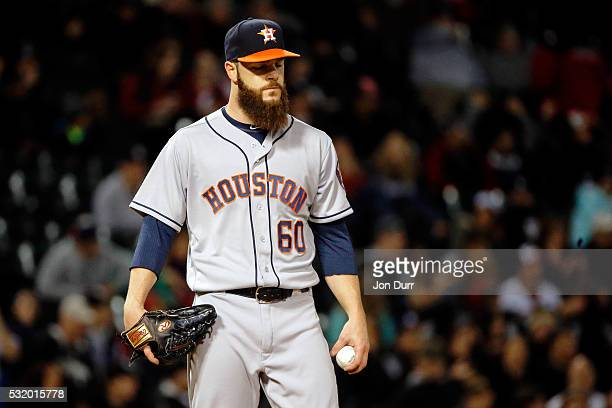 Dallas Keuchel of the Houston Astros reacts after giving up a second run against the Chicago White Sox during the fifth inning at US Cellular Field...