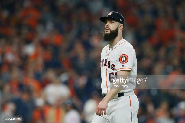 Dallas Keuchel of the Houston Astros reacts after retiring the side in the first inning against the Boston Red Sox during Game Three of the American...
