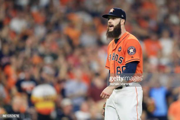 Dallas Keuchel of the Houston Astros reacts after striking out Aaron Judge of the New York Yankees to end the top of the third inning during game one...