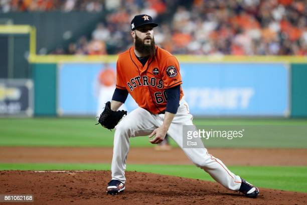 Dallas Keuchel of the Houston Astros reacts in the third inning against the New York Yankees during game one of the American League Championship...