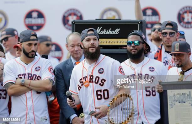 Dallas Keuchel of the Houston Astros takes the stage during the Houston Astros Victory Parade on November 3 2017 in Houston Texas The Astros defeated...