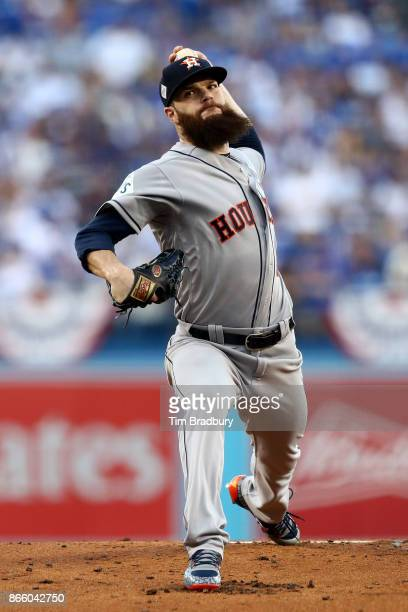 Dallas Keuchel of the Houston Astros throws a pitch during the first inning against the Los Angeles Dodgers in game one of the 2017 World Series at...