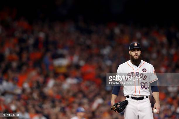 Dallas Keuchel of the Houston Astros throws a pitch during the first inning against the Los Angeles Dodgers in game five of the 2017 World Series at...