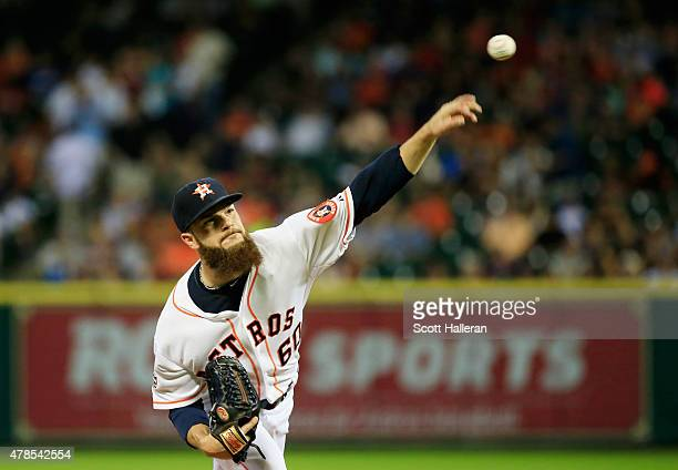 Dallas Keuchel of the Houston Astros throws a pitch in the first inning during their game against the New York Yankees at Minute Maid Park on June 25...