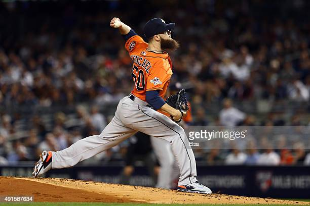 Dallas Keuchel of the Houston Astros throws a pitch in the first inning against Brett Gardner of the New York Yankees during the American League Wild...