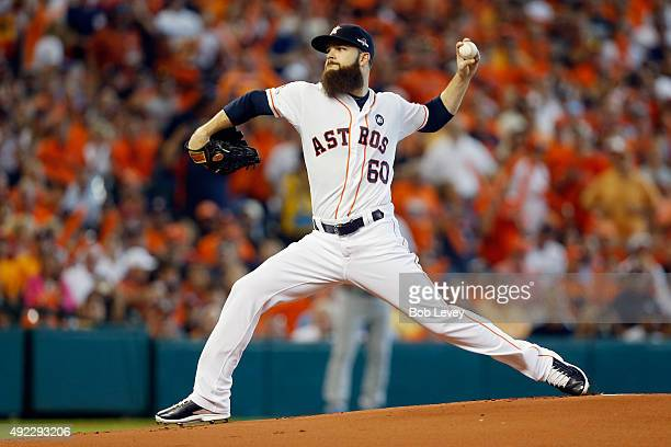 Dallas Keuchel of the Houston Astros throws a pitch in the first inning against the Kansas City Royals in game three of the American League Division...