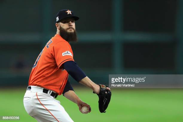 Dallas Keuchel of the Houston Astros throws a pitch in the first inning against the Boston Red Sox during game two of the American League Division...