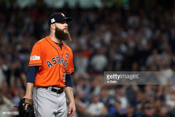 Dallas Keuchel of the Houston Astros walks off the mound as he exits the game during the fifth inning against the New York Yankees in Game Five of...