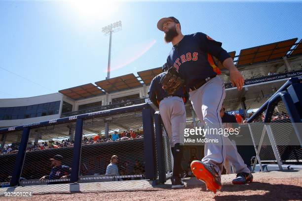 Dallas Keuchel of the Houston Astros walks onto the field during the fifth inning of the Spring Training game against the Washington Nationals at...