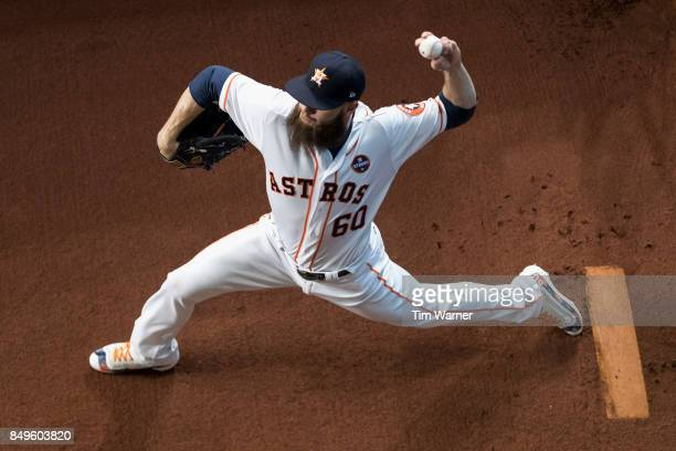 Dallas Keuchel of the Houston Astros warms up in the bullpen before the game against the Seattle Mariners at Minute Maid Park on September 16 2017 in...