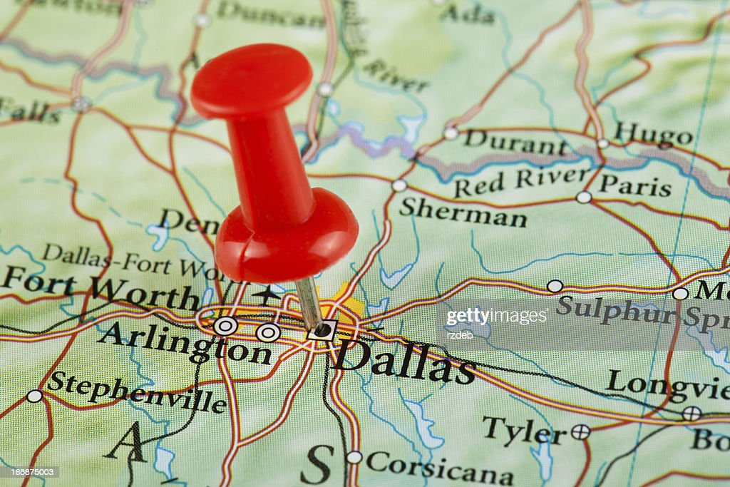 Dallas Map Texas Usa Stock Photo   Getty Images