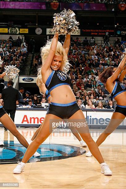 Dallas Mavericks dancer performs during a break in the game between the Philadelphia 76ers and the Dallas Mavericks on January 2 2009 at American...