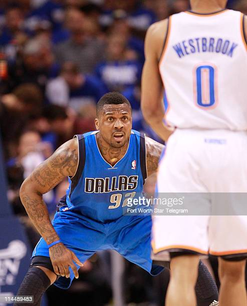 Dallas Mavericks' DeShawn Stevenson defends Oklahoma City Thunder's Russell Westbrook in Game 3 of the NBA's Western Conference finals at Oklahoma...