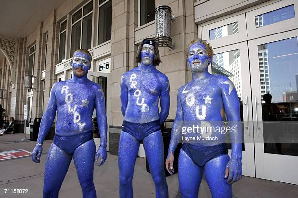 Dallas Mavericks fans celebrate prior to Game One of the 2006 NBA Finals against the Miami Heat June 8 2006 at American Airlines Center in Dallas...