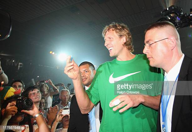 Dallas Mavericks forward Dirk Nowitzki arrives at the sOliver Arena on June 28 2011 in Wuerzburg Germany Nowitzki visits his hometown Wuerzburg after...