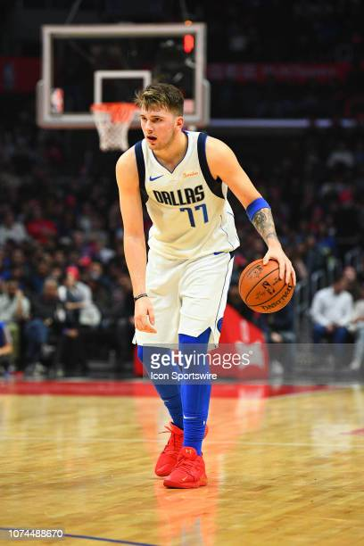 Dallas Mavericks Guard Luka Doncic brings the ball up the court during a NBA game between the Dallas Mavericks and the Los Angeles Clippers on...