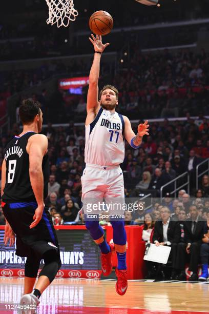 Dallas Mavericks Guard Luka Doncic drives to the basket during a NBA game between the Dallas Mavericks and the Los Angeles Clippers on February 25...