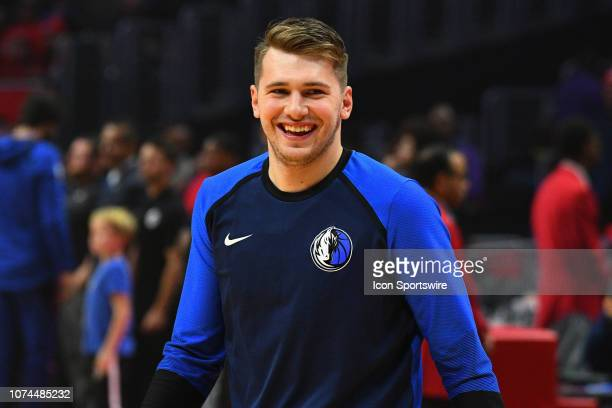 Dallas Mavericks Guard Luka Doncic looks on before a NBA game between the Dallas Mavericks and the Los Angeles Clippers on December 20 2018 at...