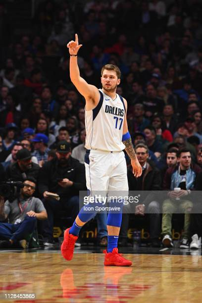 Dallas Mavericks Guard Luka Doncic looks on during a NBA game between the Dallas Mavericks and the Los Angeles Clippers on February 25 2019 at...