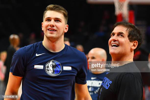 Dallas Mavericks Guard Luka Doncic looks on with owner Mark Cuban before a NBA game between the Dallas Mavericks and the Los Angeles Clippers on...