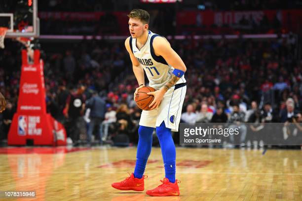 Dallas Mavericks Guard Luka Doncic sets up the offense during a NBA game between the Dallas Mavericks and the Los Angeles Clippers on December 20...