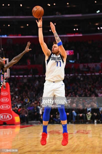 Dallas Mavericks Guard Luka Doncic shoots a shot during a NBA game between the Dallas Mavericks and the Los Angeles Clippers on February 25 2019 at...