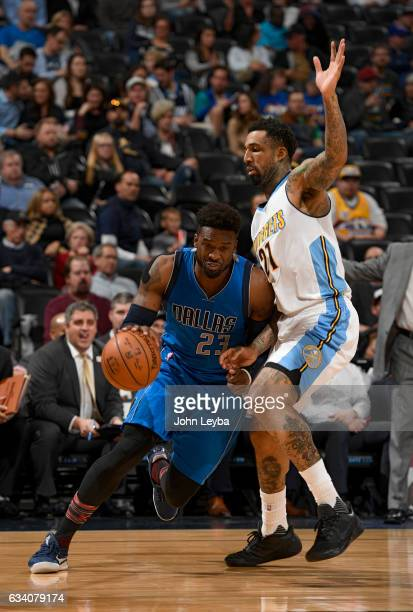 Dallas Mavericks guard Wesley Matthews drives on Denver Nuggets forward Wilson Chandler during the third quarter February 6 2017 at Pepsi Center