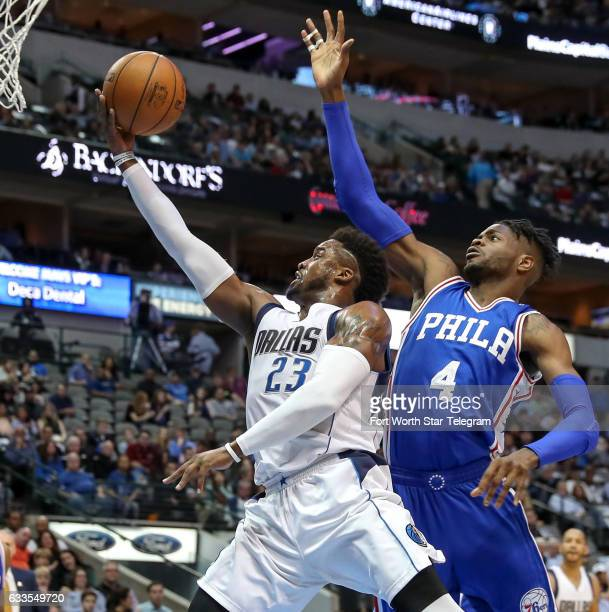 Dallas Mavericks guard Wesley Matthews goes to the basket past Philadelphia 76ers forward Nerlens Noel during the first half on Wednesday Feb 1 2017...