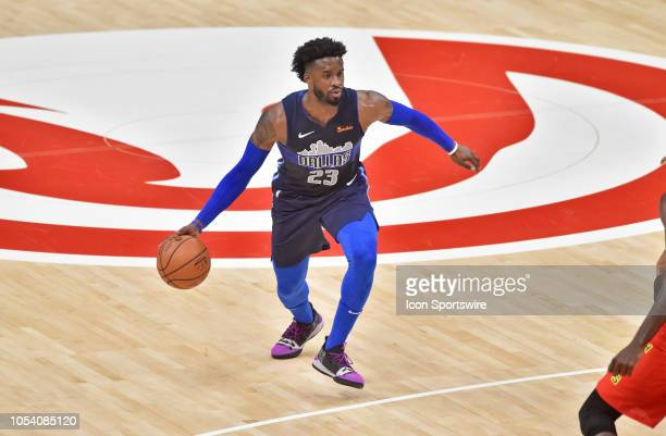 Dallas Mavericks guard Wesley Matthews looks for an open teammate during the first quarter of a NBA game against the Atlanta Hawks on October 24 at...
