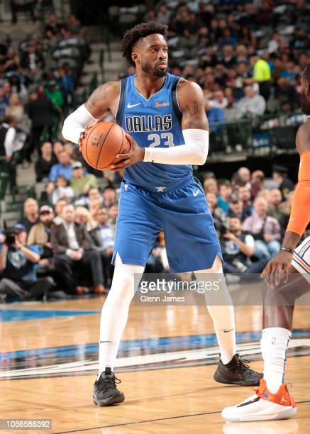 Dallas Mavericks guard Wesley Matthews looks on during the game against the New York Knicks on November 2 2018 at the American Airlines Center in...
