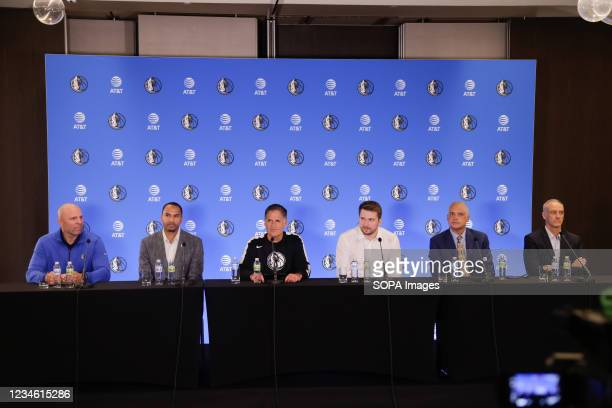 Dallas Mavericks Head Coach Jason Kidd, General Manager Nico Harrison, owner Mark Cuban, newly signed player Luka Doncic with Doncics agents Bill...
