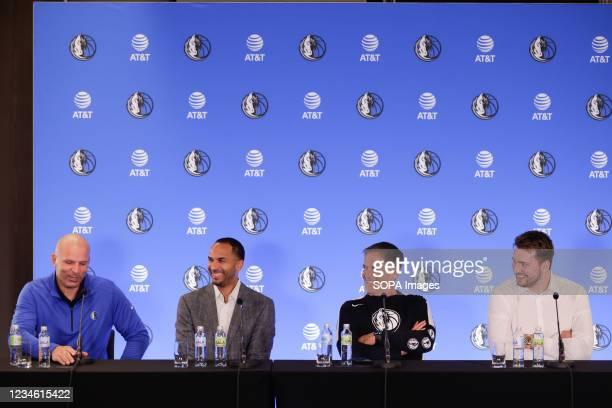Dallas Mavericks Head Coach Jason Kidd, General Manager Nico Harrison, owner Mark Cuban and Luka Doncic at a press conference. Slovenian NBA star,...