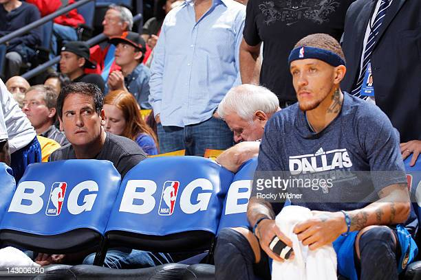 Dallas Mavericks Mark Cuban stares at Delonte West of the Dallas Mavericks during a game against the Golden State Warriors on April 12 2012 at Oracle...