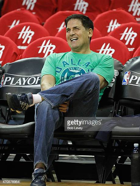 Dallas Mavericks owner Marc Cuban watches pregame warm ups before Game Two of the Western Conference Quarterfinals of the 2015 NBA Playoffs at Toyota...