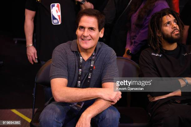 Dallas Mavericks owner Mark Cuban and J Cole attend the 2018 JBL ThreePoint Contest at Staples Center on February 17 2018 in Los Angeles California