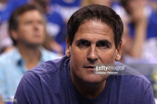 Dallas Mavericks owner Mark Cuban looks on in the first quarter as the Mavericks take on the Oklahoma City Thunder in Game Three of the Western...