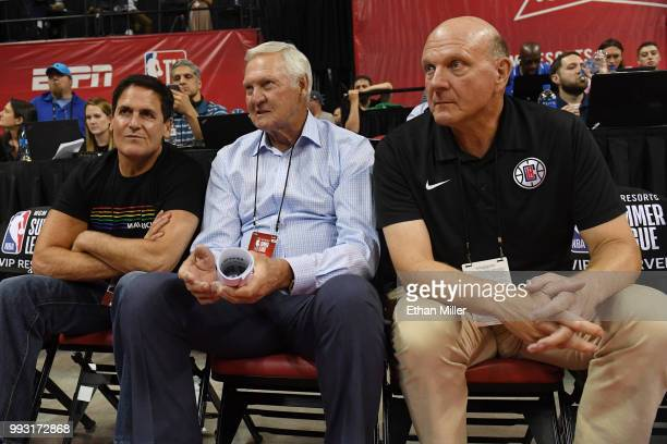 Dallas Mavericks owner Mark Cuban Los Angeles Clippers executive board member Jerry West and Clippers owner Steve Ballmer watch a 2018 NBA Summer...