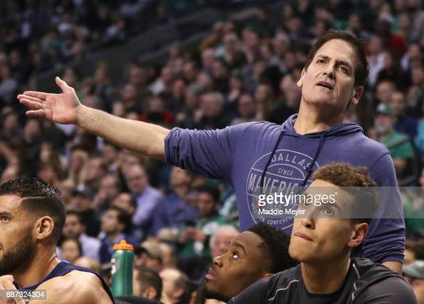 Dallas Mavericks owner Mark Cuban reacts to a call during the second half against the Boston Celtics at TD Garden on December 6 2017 in Boston...