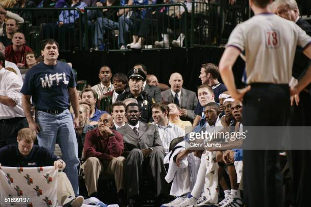 Dallas Mavericks owner Mark Cuban shouts at referees during the game against the Detroit Pistons on December 6 2004 at the American Airlines Center...