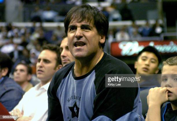 Dallas Mavericks owner Mark Cuban watches during the Mavericks' 10192 loss to the Los Angeles Clippers at the Staples Center in Los Angeles Calif on...