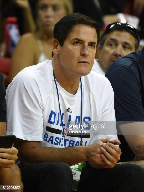 Dallas Mavericks owner Mark Cuban watches his team take on the Chicago Bulls during a 2017 Summer League game at the Thomas Mack Center on July 8...