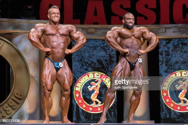 Dallas McCarver and Cedric McMillan compete in the Arnold Classic as part of the Arnold Sports Festival on March 4 at the Greater Columbus Convention...