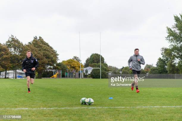 Dallas McLeod and Fergus Burke of the Crusaders , who currently self-isolate after playing a Super Rugby match in Australia, train individually at...
