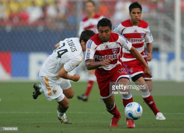 FC Dallas midfielder Arturo Alvarez takes the ball down field during the match FC Dallas against the LA Galaxy on June 9 2007 at Pizza Hut Park in...
