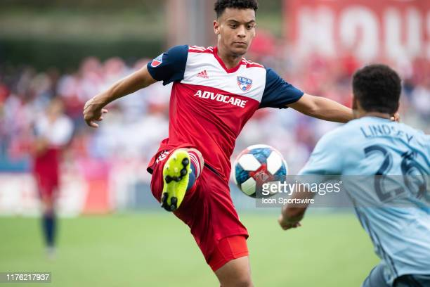 Dallas midfielder Brandon Servania controls a pass during the MLS soccer game between FC Dallas and Sporting Kansas City on October 06 at Toyota...
