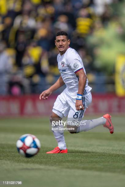 Dallas midfielder Bryan Acosta looks for an open man in the MLS regular season game between the Columbus Crew SC and the FC Dallas on March 16 2019...