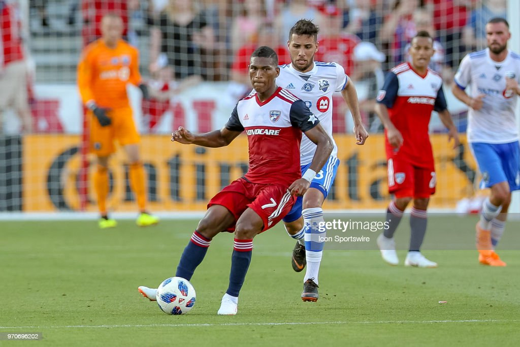 FC Dallas midfielder Carlos Gruezo (7) looks to pass the ball during the soccer match between the Montreal Impact and FC Dallas on June 9, 2018 at Toyota Stadium in Frisco, TX.
