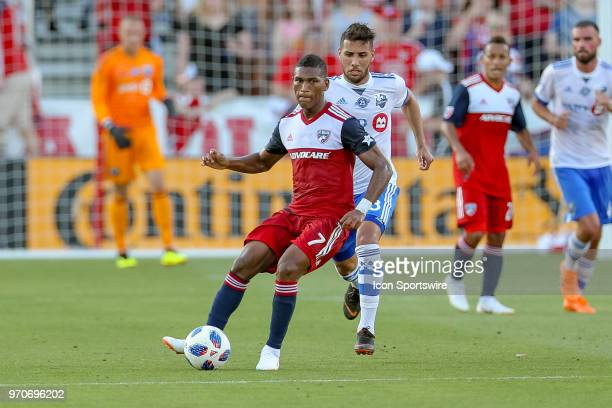 Dallas midfielder Carlos Gruezo looks to pass the ball during the soccer match between the Montreal Impact and FC Dallas on June 9 2018 at Toyota...